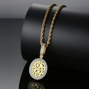 Other - 14k Gold Nugget Medallion Micro Pave Pendant Chain